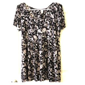 H&M blk floral short sleeve mini dress size 12